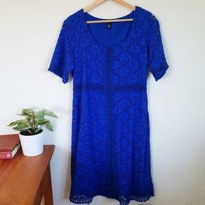 Alfani Cobalt Blue Lace Midi Dress